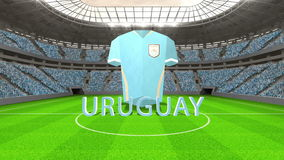 Uruguay world cup message with jersey and text. In large digital football stadium stock video
