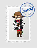 Uruguayan cartoon person postal stamp Royalty Free Stock Image