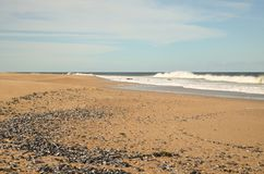 Uruguayan coast, Jose Ignacio. Uruguayan coast, at Jose Ignacio. See fron the beach. Sand and see. Horizont far away Stock Photography