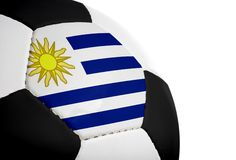 Uruguayan Flag - Football. Uruguayan flag painted/projected onto a football (soccer ball).  Isolated on a white background Stock Photos
