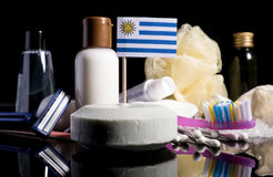 Uruguayan flag in the soap with all the products for the people Stock Photography