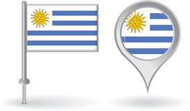 Uruguayan pin icon and map pointer flag. Vector Stock Photos