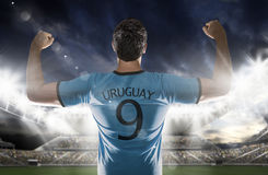 Uruguayan soccer player in the stadium Royalty Free Stock Image