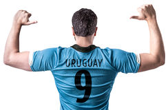 Uruguayan soccer player on white background Stock Photos