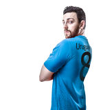 Uruguayan soccer player on white background Royalty Free Stock Photography