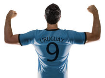 Uruguayan soccer player on white background Royalty Free Stock Images