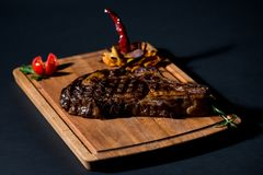 Uruguayan Steak on a chipper. With pepper Royalty Free Stock Photo