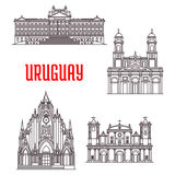 Uruguayan travel landmarks thin line icon. Uruguayan travel landmarks icon with historical and religious sights. Linear Montevideo Metropolitan Cathedral Stock Images