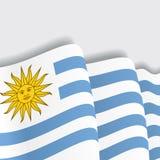 Uruguayan waving Flag. Vector illustration. Royalty Free Stock Photography