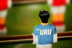 Urugwaj Krajowy bydło na roczniku Foosball, Stołowy mecz piłkarski obraz royalty free