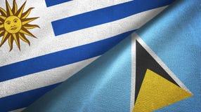 Urugwaj Lucia i święty dwa flagi tekstylny płótno, tkaniny tekstura ilustracji
