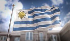Urugwaj Zaznacza 3D rendering na niebieskie niebo budynku tle Obrazy Stock