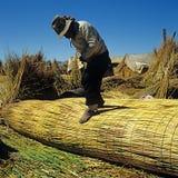 Uruindian bouwt reedboat Stock Foto's
