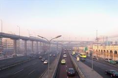 Hightways in Urumqi at sunset. URUMQI, CHINA, DECEMBER 31, 2015: view on highways of Urumqi Stock Photos