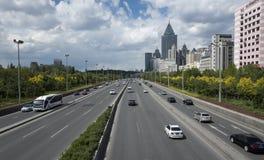 Urumqi city views. Expressway crossing the Urumqi, Xinjiang province, China Stock Photo