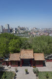 Urumqi city views. Overlooking the Urumqi city through the Red-Mountain Park of Urumqi, Xinjiang province, China Royalty Free Stock Image