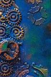 Urverk för hjul för kuggar för handgjord steampunkbakgrund mekaniskt royaltyfria bilder