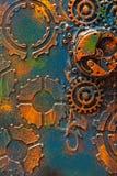 Urverk för hjul för kuggar för handgjord steampunkbakgrund mekaniskt royaltyfri foto