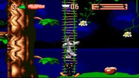 URYUPINSK ROSJA, KWIECIEŃ - 7, 2016: Gameplay konsoli Sega genezy pluskw gemowy królik w Dwoistym kłopocie - kreskówka królik zbiory