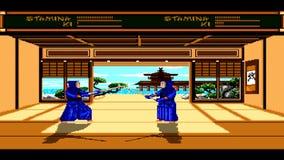 URYUPINSK RUSLAND - APRIL 7, 2016: De console Sega Genesis Budokan van het Gameplayspel - retro strijd van kendo de Japanse vecht stock videobeelden