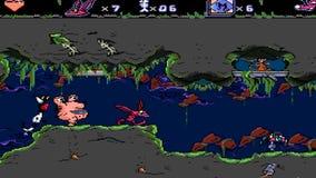 URYUPINSK. RUSSIA - APRIL 7, 2016: Gameplay game console Sega Genesis AAAHH!!! Real Monsters -  alien  monster cartoon stock footage