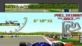 URYUPINSK. RUSSIA - APRIL 7, 2016: Gameplay game console Sega Genesis Ayrton Senna's Super Monaco GP II - Formula 1 stock footage