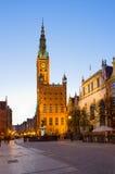 Urząd miasta Gdański przy nocą Fotografia Stock