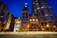 Urząd Miasta i Connecticut centrum finansowe przy nocą, w puszku fotografia stock