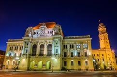 Urząd miasta od Oradea, Błękitna godzina, Rumunia Obraz Royalty Free