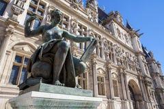 Urząd Miasta w Paryż z zabytkiem Fotografia Royalty Free