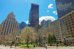 Urząd Pocztowy linia horyzontu z drapaczami chmur w w centrum Boston i kwadrat obrazy stock
