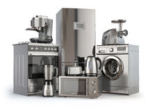 urządzeń projekta domu ikon kuchenny set twój Benzynowa kuchenka, chłodziarka, mikrofala i washi, ilustracja wektor