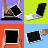 Urządzenia elektroniczne - laptopy i pastylki Fotografia Stock