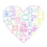 Urządzenia i kobieta barwiący ramowy serce royalty ilustracja