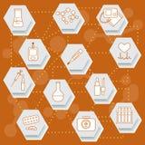 Urządzenia medyczne, narzędzia i leki, ilustracji