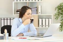Urzędnik relaksuje pijący kawę zdjęcie royalty free