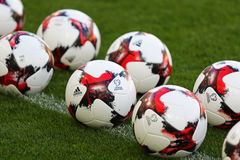 Urzędnik zapałczane piłki FIFA puchar świata 2018 zdjęcia royalty free