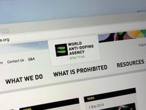 Urzędnika homepage Światowa podaje doping agencja - WADA zdjęcie royalty free