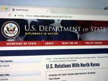 Urzędnika homepage Stany Zjednoczone departament stanu lub departament stanu zdjęcie royalty free