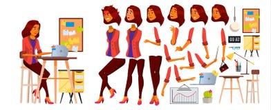 Urzędnika wektor Kobieta Pomyślny oficer, urzędnik, sługa Arab, Saudyjski Biznesowej kobiety pracownik Stawia czoło Emocje Fotografia Stock
