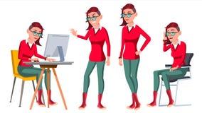 Urzędnika wektor Kobieta Szczęśliwy urzędnik, sługa, pracownik pokraka W akci Biznesowa istota ludzka Emocje, Różnorodne royalty ilustracja