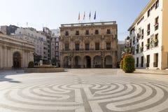Urzędu Miasta kwadrat w Castellà ³ n De Los angeles Plana Zdjęcie Stock