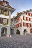 Urzędu Miasta kwadrat w Starym miasteczku Thun przy bożymi narodzeniami Zdjęcia Royalty Free