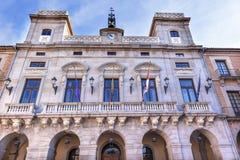 Urzędu Miasta rzędu miasta placu Mayor Avila Castile Hiszpania Zdjęcie Stock