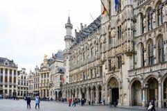 Urząd Miasta miasto Bruksela, budynek gothic architektoniczny styl przy Uroczystym miejscem w Bruksela, Belgia Obraz Stock
