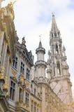 Urząd miasta miasto Bruksela, budynek gothic architektoniczny styl przy Uroczystym miejscem w Bruksela, Belgia Zdjęcia Stock
