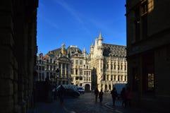 Urząd Miasta miasto Bruksela, budynek gothic architektoniczny styl przy Uroczystym miejscem w Bruksela, Belgia Zdjęcie Stock