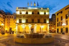 Urząd Miasta przy Castellon De Los angeles Plana w nocy Zdjęcie Royalty Free