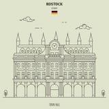 Urząd miasta w Rostock, Niemcy Punkt zwrotny ikona royalty ilustracja