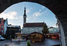 Urzędu Miasta kwadrat w Tallinn Fotografia Stock